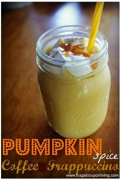 Pumpkin Spice Coffee Frappuccino Recipe. Fall treat with simple ingredients. Details on Frugal Coupon Living.