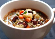 Bean and Barley Soup (Replace potatoes with cauliflower florrets and remove/replace carrots for a better low carb/low GI version)
