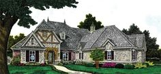 European+House+Plan+with+2043+Square+Feet+and+3+Bedrooms+from+Dream+Home+Source+|+House+Plan+Code+DHSW076874  Four car garage. Potential media room and game room