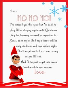 Yummy Mummy Kitchen: Elf on the Shelf Letter {free printable} - Buddy The Elf Elf On Shelf Letter, Elf Letters, Shelf Elf, Kids Letters, Elf On Shelf Funny, Free Letters From Santa, Welcome Back Letter, Welcome Letters, Printable Letters