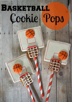 Fun basketball cookie pops by sweetsimplestuff! - See More March Madness Basketball Snacks On B. Mishloach Manos, Basketball Cookies, Basketball Decorations, Birthday Party Treats, Birthday Ideas, Birthday Basket, 13th Birthday, Basketball Birthday Parties, Cookie Pops