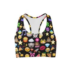 Girls super fun emoji printed sports bra is perfect for your workouts or for hanging out. Pair it with your matching black Emoji printed leggings for a super show stopping look! Cheer Outfits, Dance Outfits, Girl Outfits, Emoji Stuff, Emoji Things, Black Emoji, Cute Sports Bra, Emoji Love, Tween Fashion