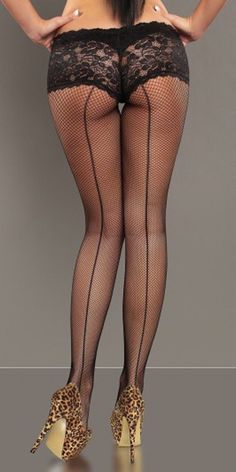Women's Black Fishnet Tights with Back Seam and Lace Boy Shorts Knickers Stockings Outfit, Pantyhose Outfits, Stockings And Suspenders, Fishnet Stockings, Stocking Tights, Tights Outfit, Fashion Tights, Black Fishnet Tights, Black Fishnets