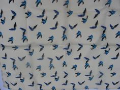 SOLD Blue Bird of Happiness Scarf, petite neckerchief in complimentary wrapping and 'Happy Little Celebration' gift tag. Great bird lover present @PumpjackPiddlewick on Etsy