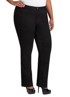 1ed49a2797b Ashley Stewart Women s Plus Size Average Bootcut Five Pocket Denim Black 24