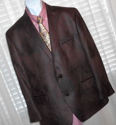 Michael Kors Brown Faux Suede Cotton Polyester Two Button Sport Coat Men's 46 R #MichaelKors #TwoButtonSportJacketCoat