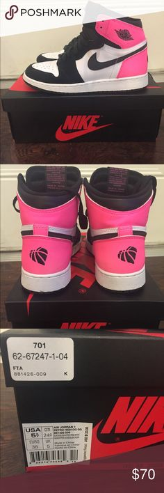 """Valentine's edition Nike Air Jordan 1 Authentic Nike Air Jordan 1 OG GS """"Valentine's Day"""" release - size 5.5Y (equivalent to 7 women's) Released Feb 2017, worn maybe 5 times. Color is Black/Black-Hyper-Pink-White. """"For the love of the game"""" embroidery on heels with 3m reflective detailing (see black image- the only one not taken by me). Retails for $120 Read Less Nike Shoes Sneakers"""