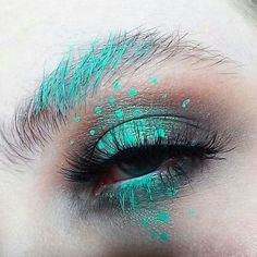 mint green and smokey eye