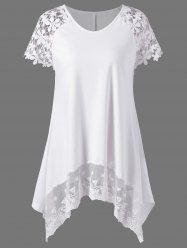 Lace Panel Tunic Top - WHITE XL