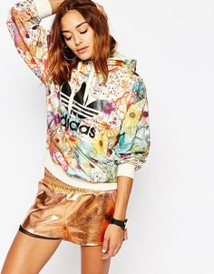 promo code 96fd4 21e7f adidas Originals Farm Pull Over Hoodie With Trefoil Logo In Floral Print  Oversized Hoodie Outfit,