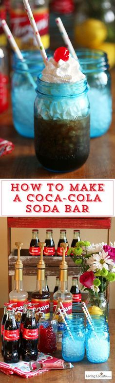 How to make a DIY Coca-Cola Soda Bar. A fun and easy party idea as an alternative to a Italian Soda Bar. Share a Coke with your own drink recipe! LivingLocurto.com #cocacola #drinks #sodabar #partyideas #desserts Bar Drinks, Yummy Drinks, Beverages, Coca Cola Party, Italian Soda Bar, Fresco, Just In Case, Just For You, Food Stations
