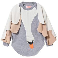 Bang Bang Copenhagen Grey Marl I Can Fly Swan Applique Winged Dress