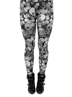 """I would love to see some girls in these....Women's """"Skull Collage"""" Leggings (Black/White)"""
