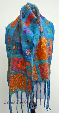 nuno felted scarf with contrasting silk, wool roving, and yarns