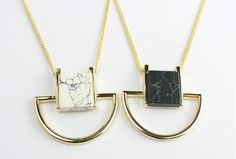 Square moon marble stone long necklaces / Wild Inanda