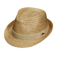 If you're looking for a tropical fedora for your beach vacation, then this is the hat for you! This fedora is constructed from a plant in the Philippines called buri palm. The straw from the buri palm is braided together to create this gorgeous look. The hat is accented with a plant called jute, which is braided together to form the hatband. A Tommy Bahama marlin pin is added to complete the look. Inside the crown of the hat is an authentic Tommy Bahama tip sticker for verification…