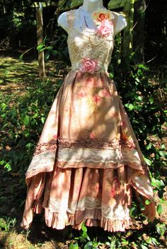 Rustic wedding dress tea stained beige floral  lace rose  romantic medium   by vintage opulence on Etsy