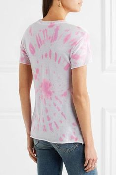 The Elder Statesman - Printed Tie-dye Silk And Cashmere-blend T-shirt - Pink - xx small