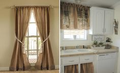 Burlap is a great, affordable alternative to conventional window treatments. It can add rustic charm to a kitchen or dining room and be used as valance or full-sized curtains.  You can also make tablemats or runners to compliment the overall look.