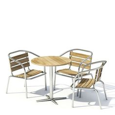 Wooden Furniture Set Table And Chairs by Evermotion. High detailed model of gard… - Modern