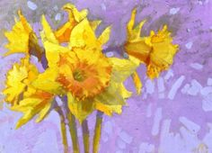 Daffodils, original painting by artist Nigel Fletcher | DailyPainters.com