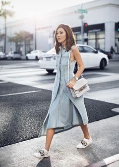 Asymmetric Denim Dress – http://tsangtastic.com | Instagram @tsangtastic Acne Studios, Vince, Proenza Schouler PS11