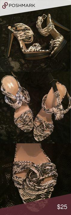 VS Shoes Victoria's Secret Snake Skin pattern Shoes. EUC.  Only worn a few times inside.  A few scuffs on bottom of left shoe. Victoria's Secret Shoes