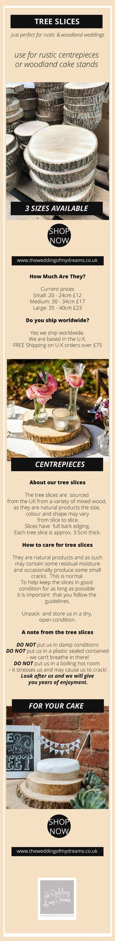 Tree Slices / Tree Slabs make Rustic Wedding Centrepieces or Cake Stands.   Buy Online | Worldwide Shipping