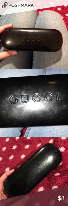 Gucci sunglasses case black Price reflects condition! Used but is still cute and works. See pics for signs of wear: includes minor scratches on the exterior. Interior is pretty clean. Has small crack on the inside at the seam. Is authentic! Seems as if it would fit smaller sunglasses but not oversized ones. If you need measurements please ask I will measure it for you! Gucci Accessories Sunglasses