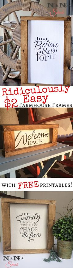 DIY Home Decor! Super easy farmhouse frames with free printables! #livingroomdecor #farmhousedecor #diyhomedecor