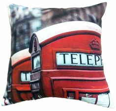 Artiwa Retro 18'x18' London Red Telephone Booth Cotton Decorative Accent Pillow Cover Sham Gift Idea * Don't get left behind, see this great product offer  : Decorative Pillows