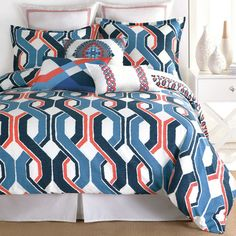 Add a pop of pattern to your master suite or guest room with this eye-catching cotton comforter set, featuring a lattice motif in blue.