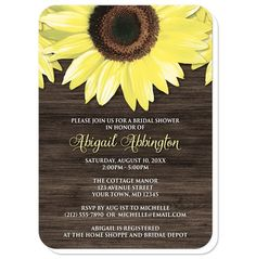 Floral Southern country Bridal Shower invitations, perfect for Spring, Summer, or Fall, with big yellow sunflowers over a dark brown wood illustration.