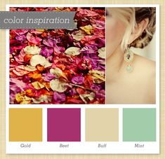 Gold/Yellow, Magenta, Ivory and Mint (or Turquoise) Color Palette 40 by Sarah Hearts