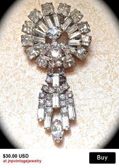 Art Deco Large Vintage Crystal Dangle  Brooch