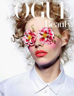 Vogue Japan's Ondria Hardin Photoshoots Features Floral Imagery #beauty trendhunter.com