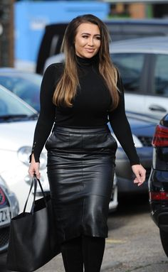 Lauren Goodger films new TOWIE scenes in Essex Lauren Goodger, Grey Fashion, Womens Fashion, Hobble Skirt, Leather Outfits, Leather Skirts, Sexy Women, Curvy Women, Black Faux Leather