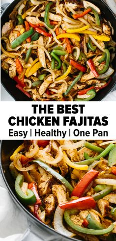 Chicken fajitas are an easy and flavorful weeknight meal. A classic Mexican recipe, juicy chicken is seasoned, seared and cooked to perfection, then tossed with sauteed bell peppers and onions. It's a healthy one-pan skillet recipe you'll love! Chicken Peppers And Onions, Chicken Bell Pepper Onion Recipe, Recipe With Bell Peppers, Recipes With Peppers, Homemade Fajita Seasoning, Chicken Fajitas Seasoning, Homemade Fajitas, Healthy Mexican Recipes, Mexican Recipes With Chicken