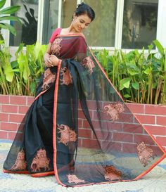 Alluring kota cotton saree with ‎elephant kalamkari‬ block print applique