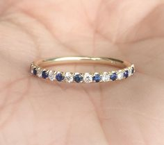 Diamond and Blue Sapphire Half Eternity Band Yellow Gold Alternating Sapphire Diamond Pave Eternity Matching Band Anniversary Stack by SARRIEL on Etsy Eternity Ring Diamond, Eternity Bands, Diamond Bands, Diamond Wedding Bands, Gold Bands, Sapphire Band, Sapphire Stone, Pink Sapphire, Saphire Ring