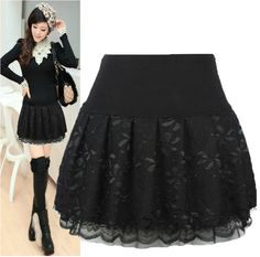Cheap Skirts, Buy Directly from China Suppliers:CAD-09 Ball gown Skirts female Casual Fashion Autumn winter Lace Pleated skirt Black Women skirts Winter skirts femaleUS
