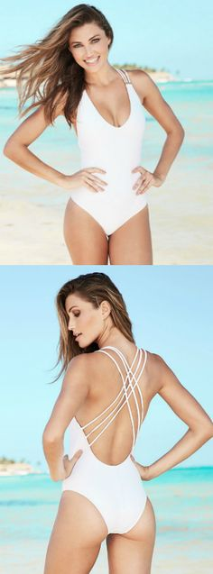 This white one-piece swimsuit features a strappy back and deep V so you can show off just the right amount of skin.