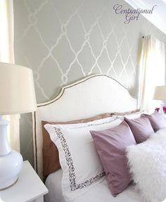 wall stencil. Love the soft colors of the grey, purple and creams