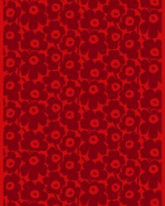 The printed cotton fabric features the red and dark red Pieni Unikko pattern. This cotton fabric can be made into curtains, a tablecloth and much more. Unikko (poppy) was born in 1964 after Armi Ratia, Marimekko´s founder, Linen Fabric, Cotton Linen, Cotton Fabric, Large Prints, Floral Prints, Marimekko Fabric, Poppy Pattern, Types Of Curtains, Rod Pocket Curtains