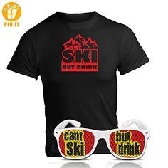 Après Ski Party Set can´t ski but drink Fun Shirt und Sonnenbrille Nerd weiß Après Ski Party Zubehör Ischgl Sölden St. Anton Après Ski Party Accessoires T-Shirt mit Spruch Brille (Large) - T-Shirts mit Spruch | Lustige und coole T-Shirts | Funny T-Shirts (*Partner-Link)
