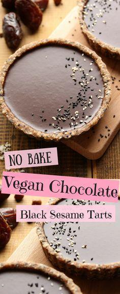 No Bake Chocolate Black Sesame Tarts