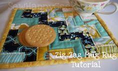 Zig Zag Mug Rug tutorial by Sew Happy Geek #diy #sew #patchwork