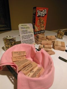 This is so cute! Have guests write wedding advice on a Jenga game because they will keep it and it will bring smiles in future years :)