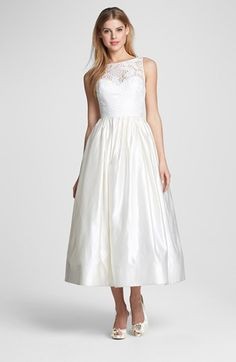 Theia Lace & Satin Tea Length Gown   Nordstrom