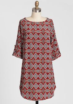 Southwestern Touch Shift Dress 38.99 at shopruche.com. Finished with a colorful southwestern print, this rust-toned shift dress features roll-tab sleeves with decorative gold-toned buttons. Pair this adorable frock with tights and boots during fall and winter, and wear it alone with flats or sandals during...